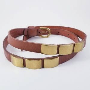 Fossil Studded Thin Leather Warm Brown Belt